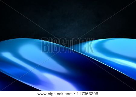Abstract Object As Blue Swirl Curves.