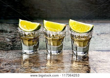 Glasses Of Gold Tequila