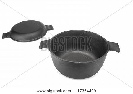Cast Iron Dutch Oven Or Pot With Pan Cover Isolated