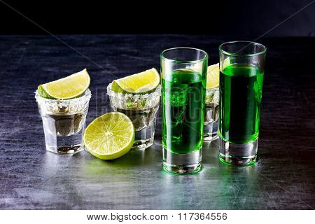 Glasses Of Tequila At The Bar
