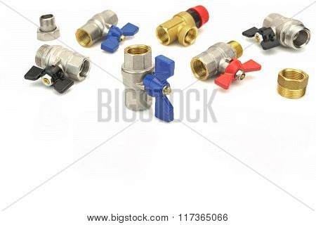 Many Chrome Plated Brass Ball Valve Isolated On White Background