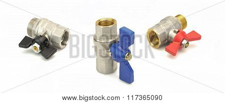 Three Chrome Plated Brass Ball Valve Isolated On White Background