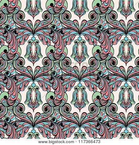 Seamless pattern. Owl doodle cartoon