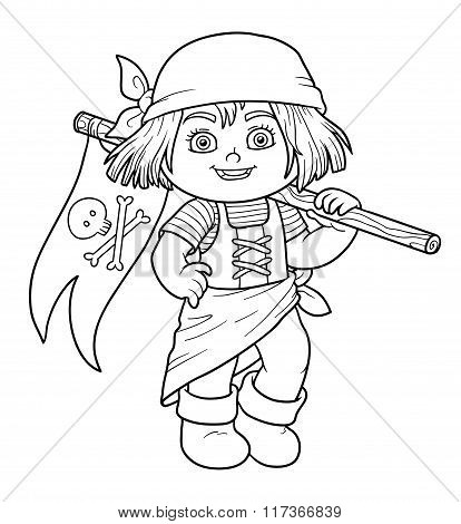 Coloring Book For Children (pirate Girl And Flag)
