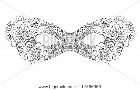 Vector Ornate Monochrome Mardi Gras Carnival Mask With Decorative Flowers