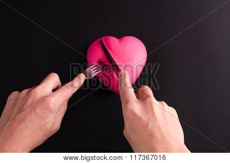 pink heart on a black background
