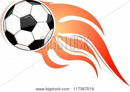 Flaming Ball. Football Or Soccer Design For Emblem Or Logo.