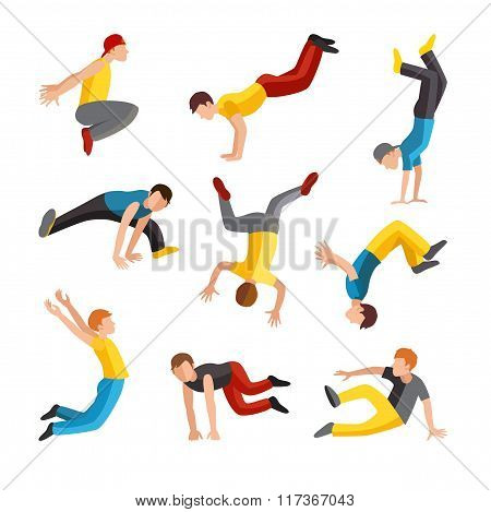 Parkour tricks extreme sport people vector silhouette