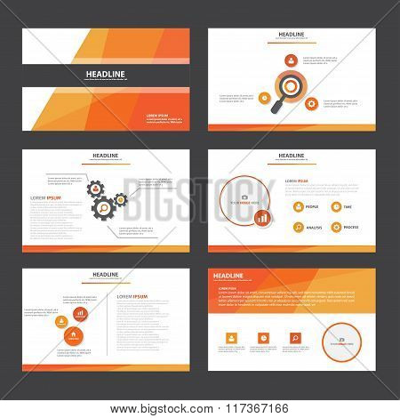 Orange polygon presentation templates Infographic elements flat design set