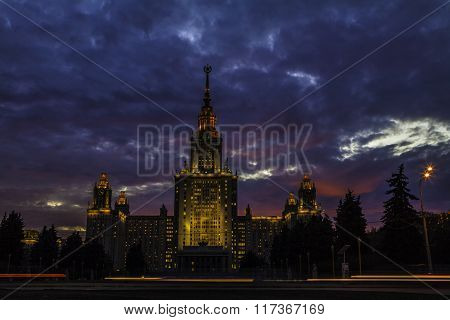 Moscow State University on the sunset