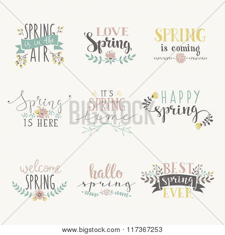 Spring art text composition vector illustration