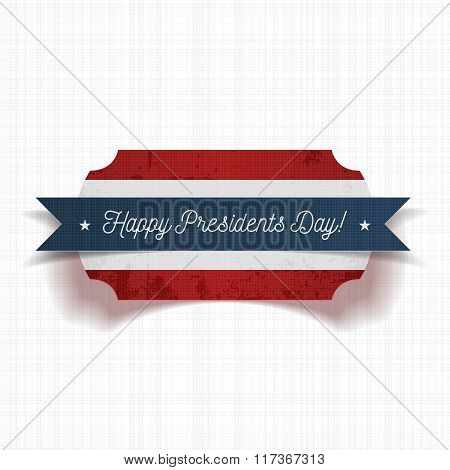 Greeting Label with Happy Presidents Day Text