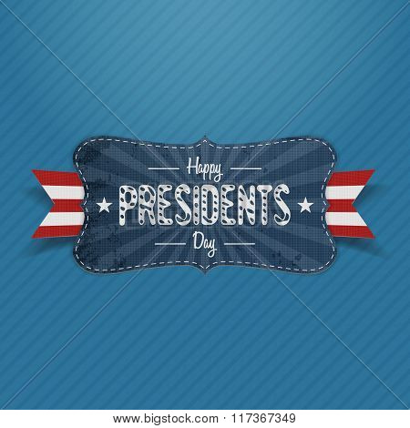 Blue striped Banner with Happy Presidents Day Text
