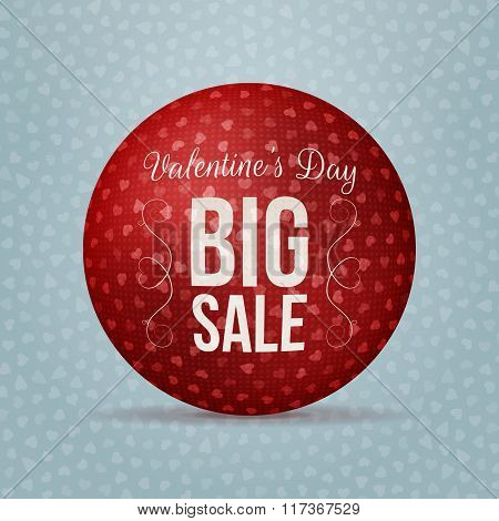 Valentines Day Big Sale red realistic vector Ball
