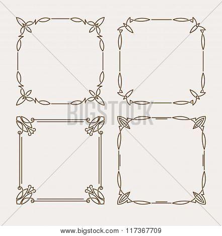Set Of Four Elegant Calligraphic Vector Frames