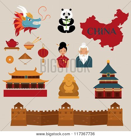 Travel to China vector icons illustration