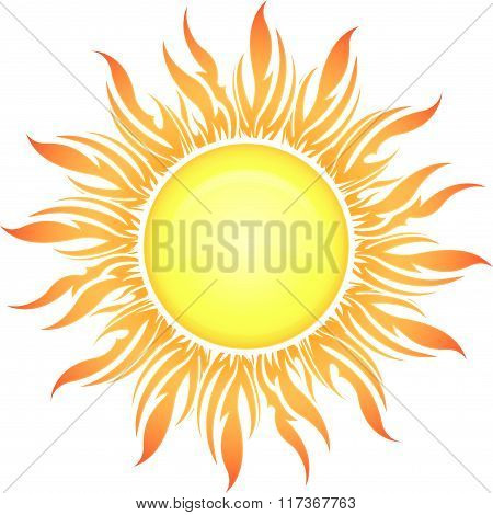 Decorative Vector Bright Colorful Sun Symbol In Yellow-orange Tones For Your Design