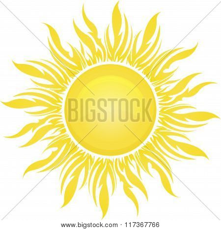 Decorative Vector Bright Colorful Sun Symbol In Yellow Tones For Your Design