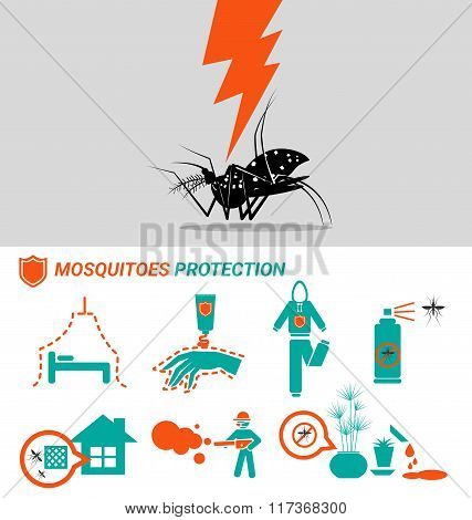 Set Of Mosquitoes Protection Concept