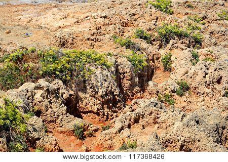 Limestone Rocks On The Coast Of Aegean Sea.