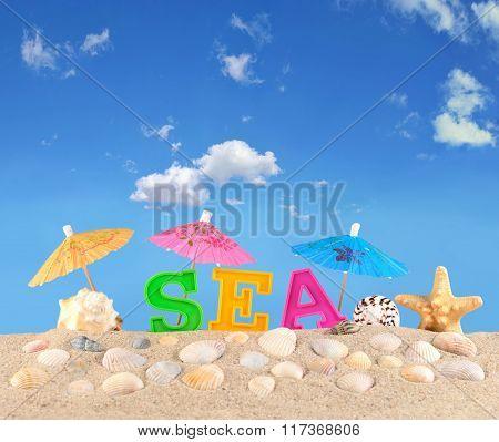 Sea Letters On A Beach Sand