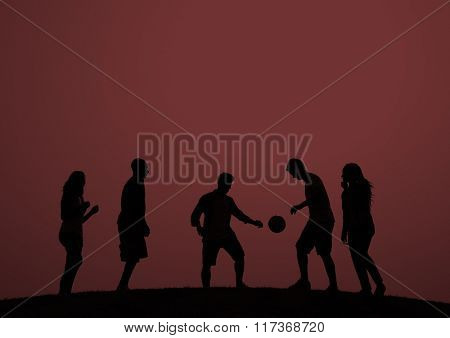 Sunset Soccer Playing Togetherness Happiness Concept