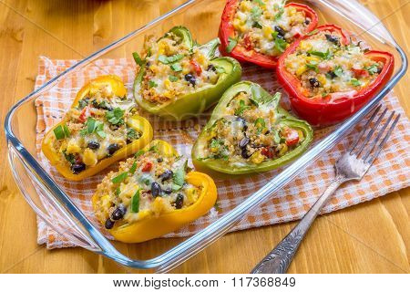 Colorful Mexican Quinoa Stuffed Bell Peppers