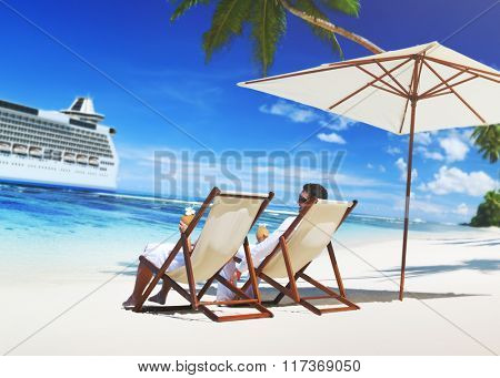 Romance Couple at the Sea Relaxation Concept