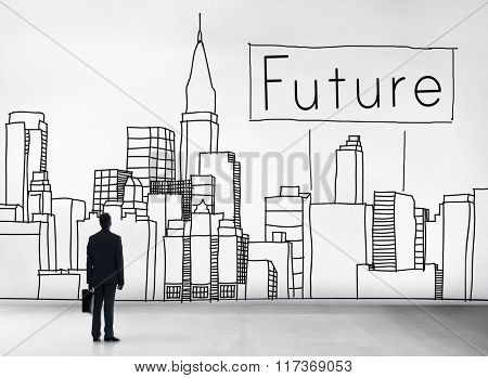 Future Imagine Development Forecast Cityscape Concept