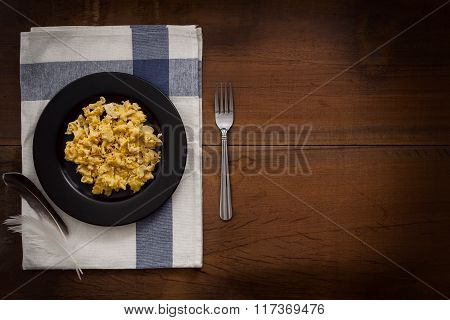 Eating Scrambled Eggs Flat Lay Still Life Rustic With Food Stylish