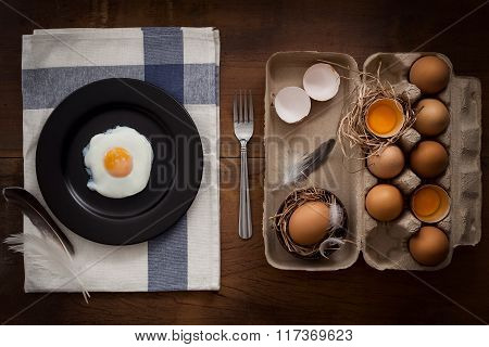 Eating Fried Eggs Flat Lay Still Life Rustic With Food Stylish