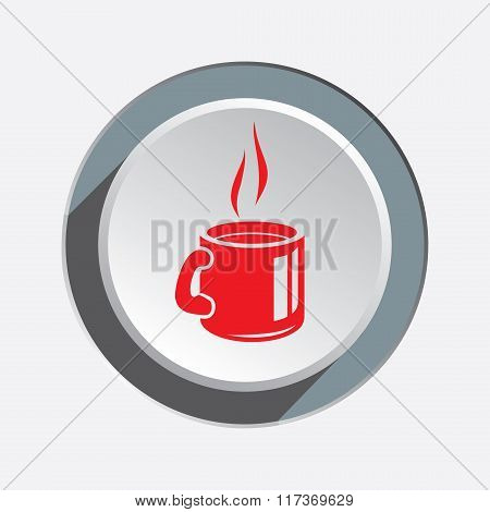 Drink glass icon. Plastic, paper cup symbol. Red sign on round three-dimensional white-gray button.