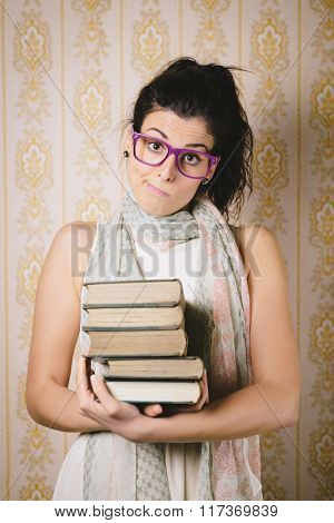 Resigned Student With Books Portrait