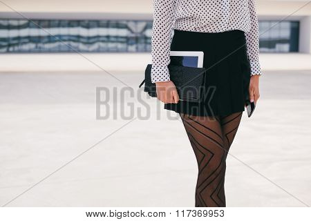 Trendy Business Professional Woman Holding Digital Tablet