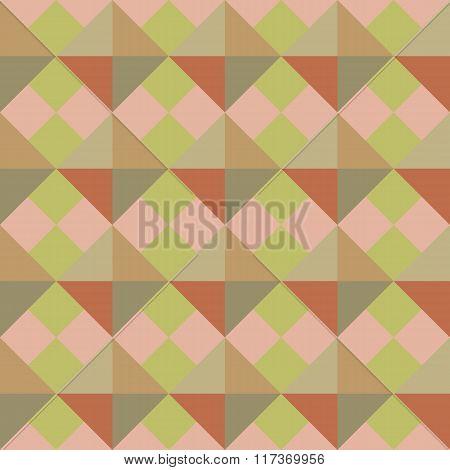 Seamless geometric pattern. Rhomb texture. Diagonal square and triangular background. Autumn, warm,