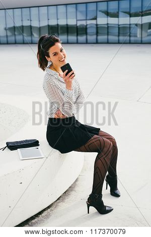 Trendy Business Professional Woman Texting Message On Smartphone