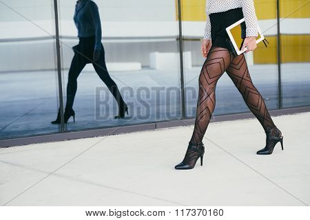Sexy Business Woman Walking To Her Job