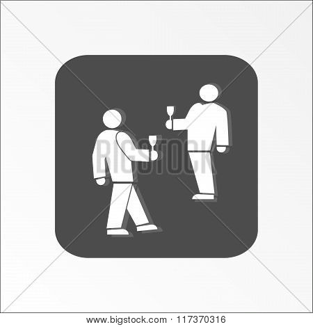 People icon. Two persons with drinks. Meeting, familiarity, friends, succes deal symbol. White sign