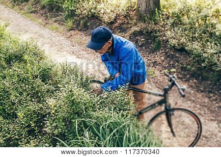 High Angle View Of Man With Bicycle Standing On Trail Observing Bushes.