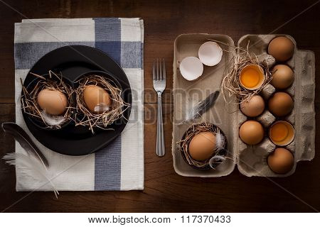 Chicken Eggs Still Life Rustic With Food Stylish