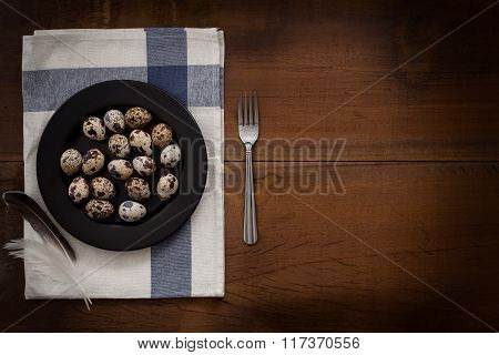 Quail Eggs Flat Lay Still Life Rustic With Food Stylis