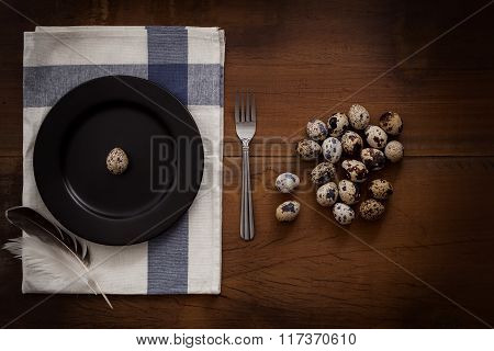 Quail Eggs Flat Lay Still Life Rustic With Food Stylish