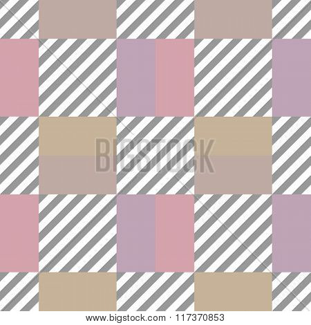 Seamless geometric checkered pattern. Stripy square texture. Diagonal gray, white strips and pastel