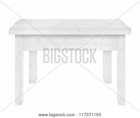 Gray wooden table is isolated white background