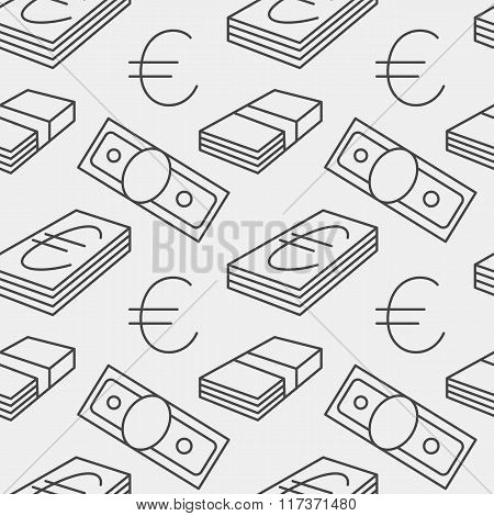Euro currency seamless pattern. Texture with EUR money sign symbols. Gray colors. Vector