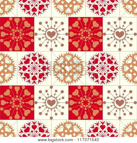 Christmas seamless pattern of heart snowflakes. New Year, Valentine day, birthday texture. Gold, red