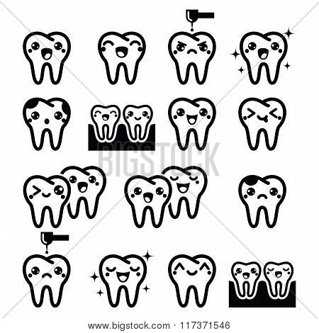 Kawaii Tooth, cute teeth characters - black vector icons set