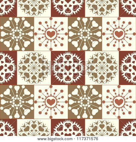 Christmas seamless pattern of heart snowflakes. New Year, Valentine day, birthday texture. Gold, gre