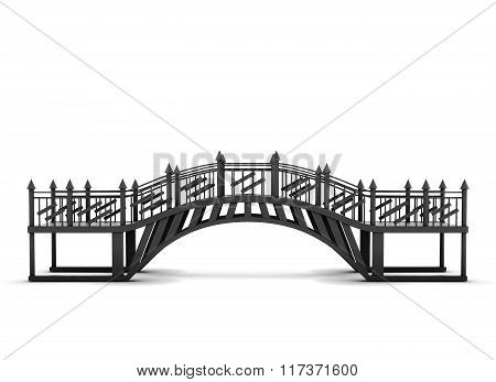 Metal bridge isolated on a white background. 3d rendering
