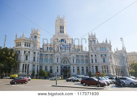 Cybele Palace (city Hall) At The Plaza De Cibeles In Madrid, Spain